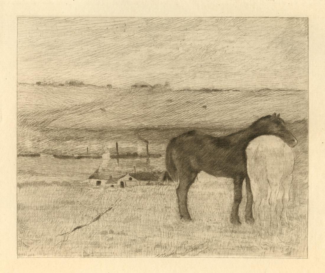 "Edgar Degas etching ""Chevaux au paturage"""
