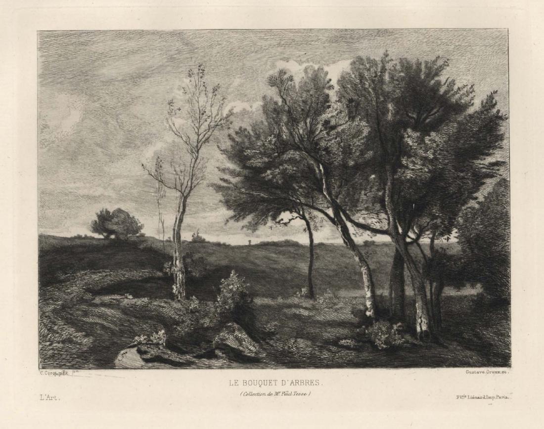 """Jean-Baptiste Corot etching """"Bouquet d'Arbres"""""""