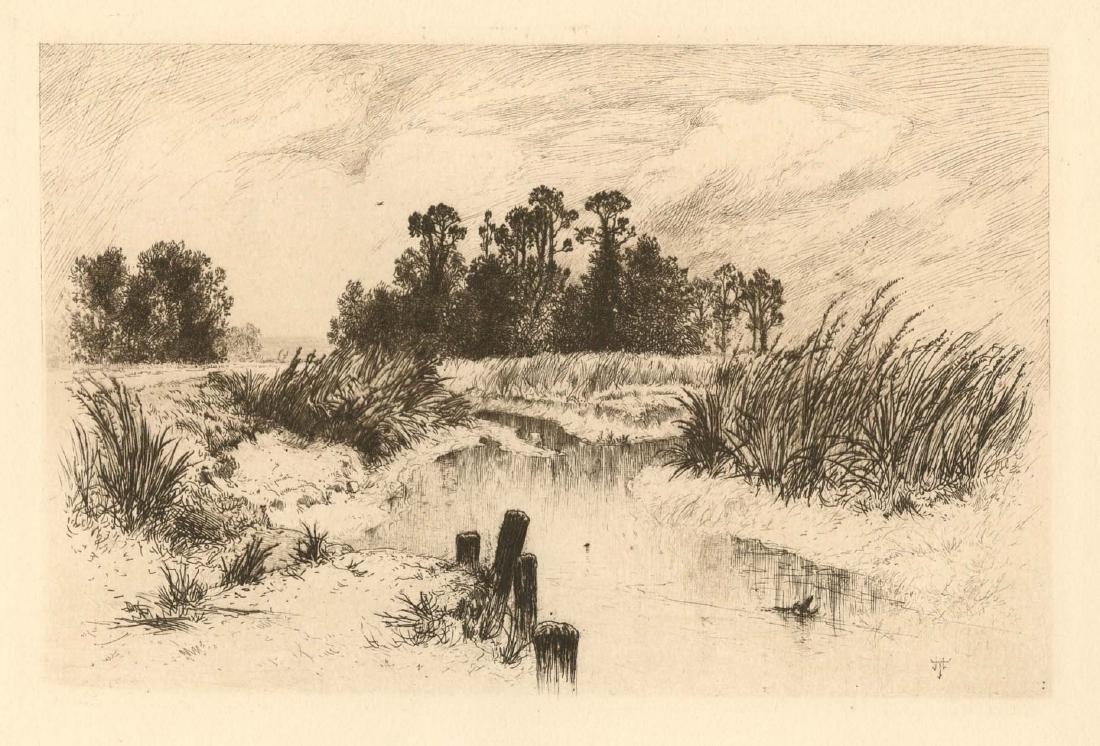 "Thomas Moran ""Passaic Meadows"" original etching"