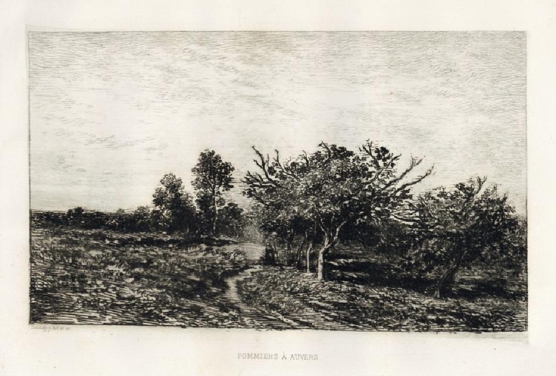 "Charles Daubigny ""Pommiers a Auvers"" original etching"