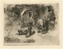 "Felix Buhot ""Gardiens du Logis"" original etching and"