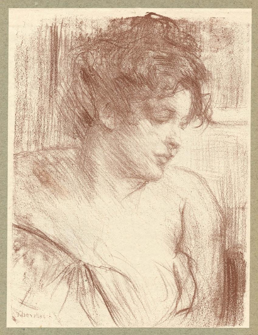 """Albert Belleroche original lithograph """"Etude"""""""
