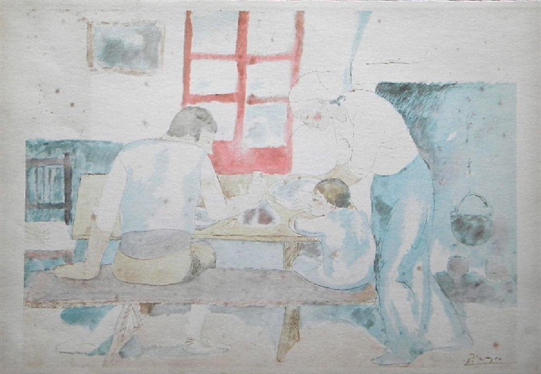 """Pablo Picasso """"Family at Supper"""" lithograph pochoir"""