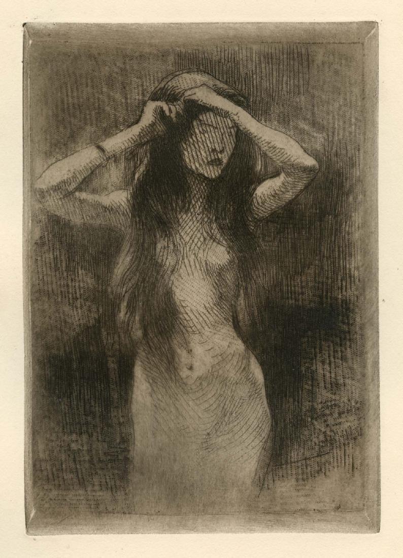 "Albert Besnard original etching ""Etude"""