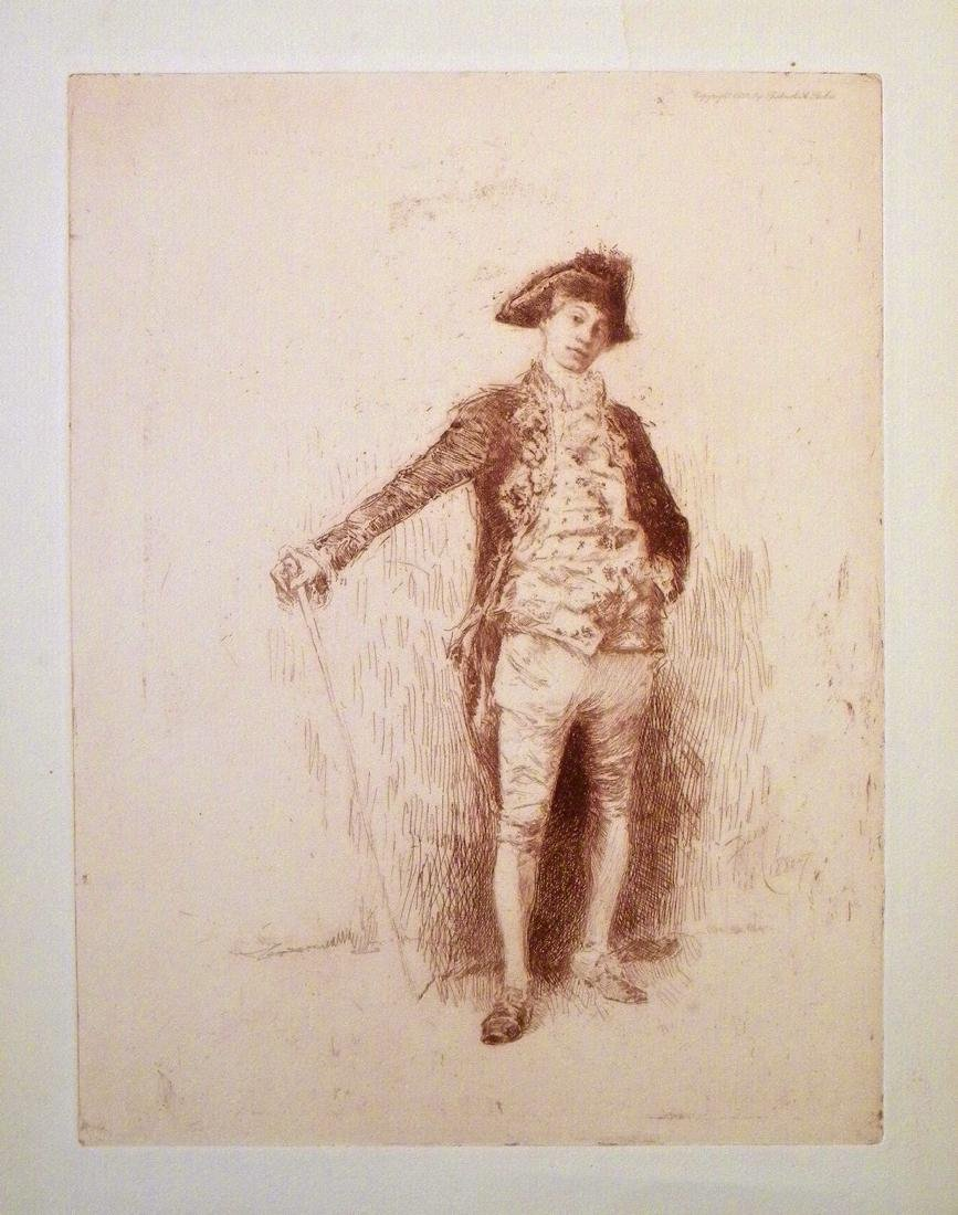 """Robert Frederick Blum original etching """"An Italian"""