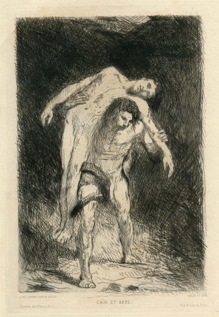 "Alexandre Falguiere original etching ""Cain and Abel"""