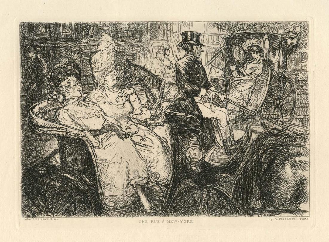 "John Sloan original etching ""Une rue a New York"" -"