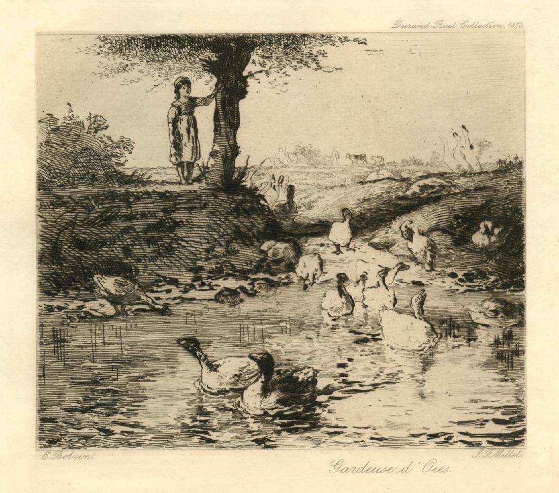 """Jean-Francois Millet etching """"Gardeuse d'Oies"""""""