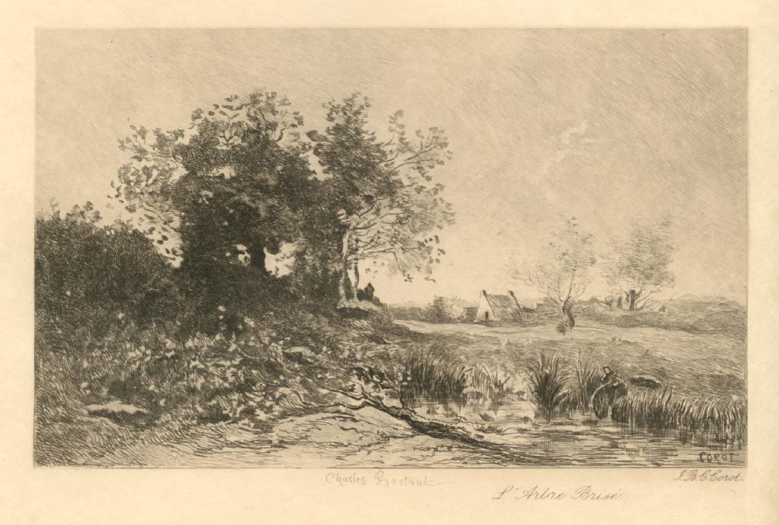 "Jean-Baptiste Corot etching ""L'Arbre Brise"""