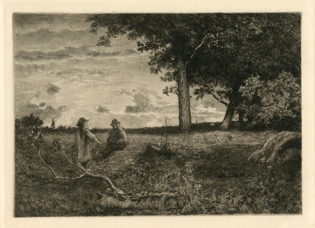 "Thomas Moran / George Inness etching ""An American"