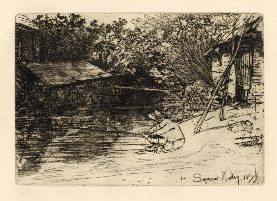 """Seymour Haden """"The Complete Angler"""" original etching"""