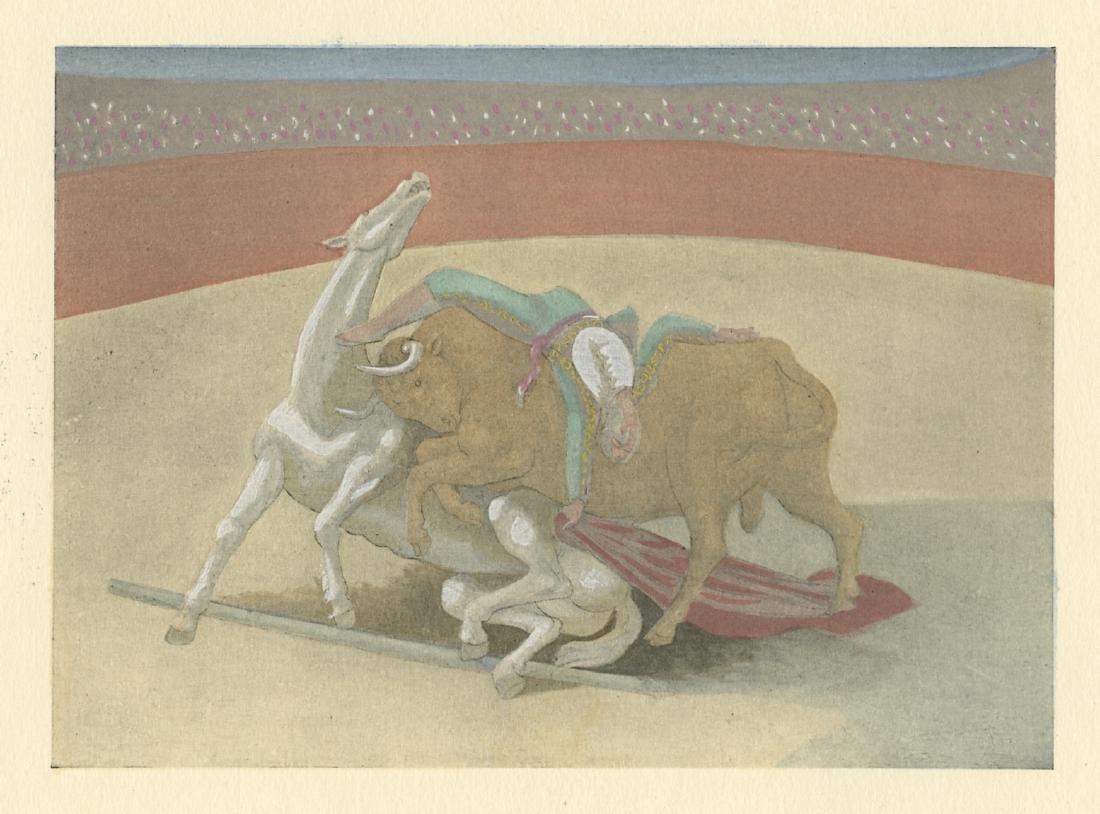 """Pablo Picasso """"Courses de taureaux"""" pochoir"""