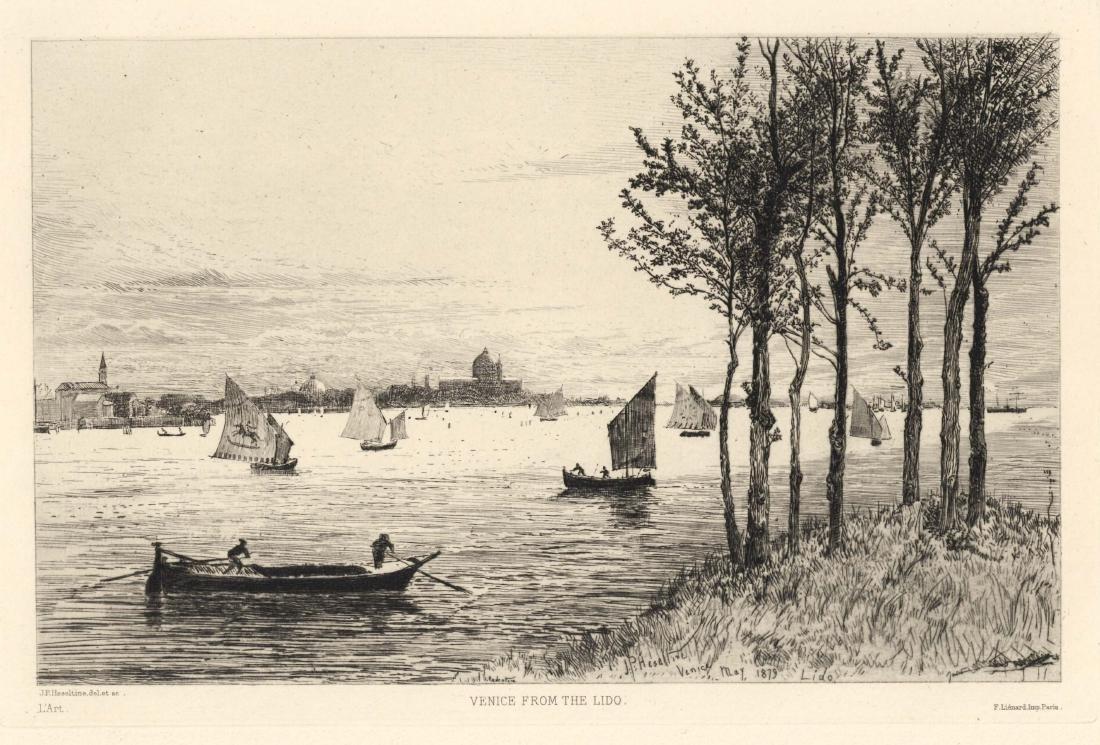 "John Postle Heseltine original etching ""Venice from the"