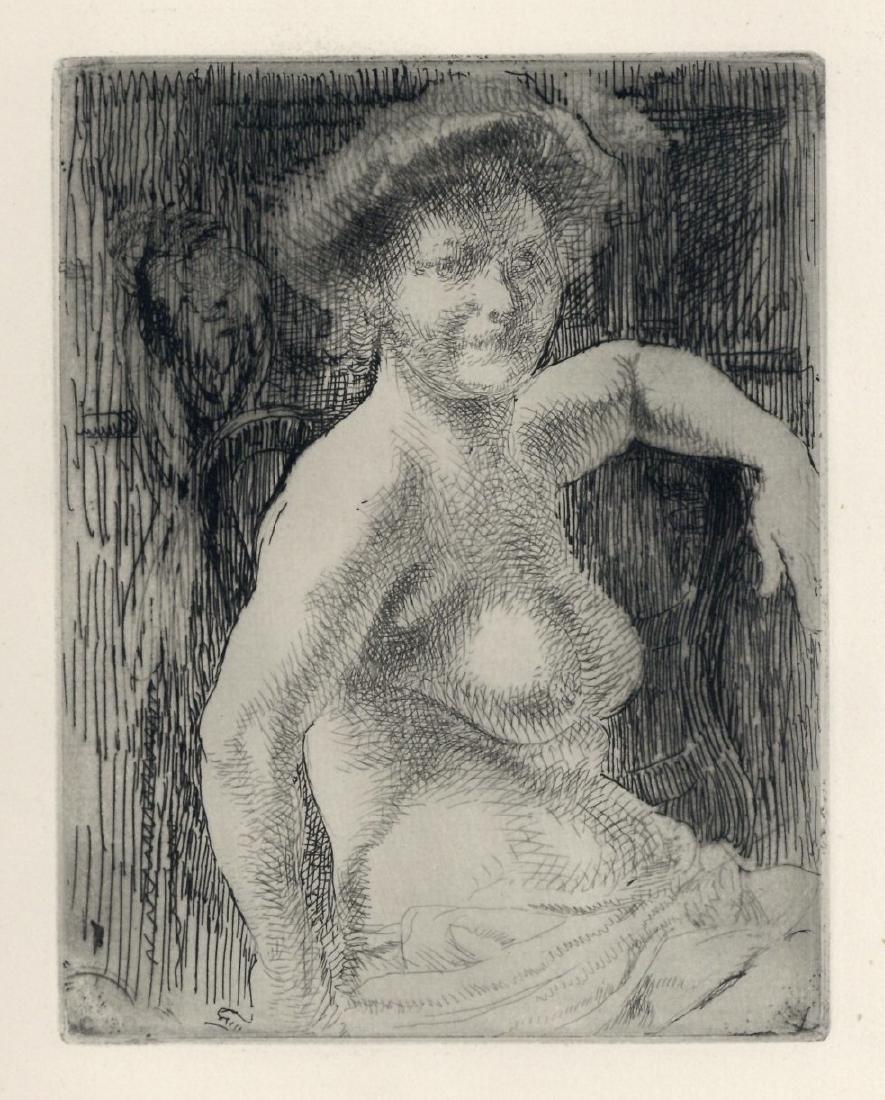 """Albert Besnard original etching """"Femme nue a sa"""