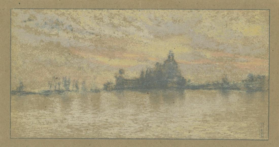 "James Whistler lithograph ""Sunset: Venice"""