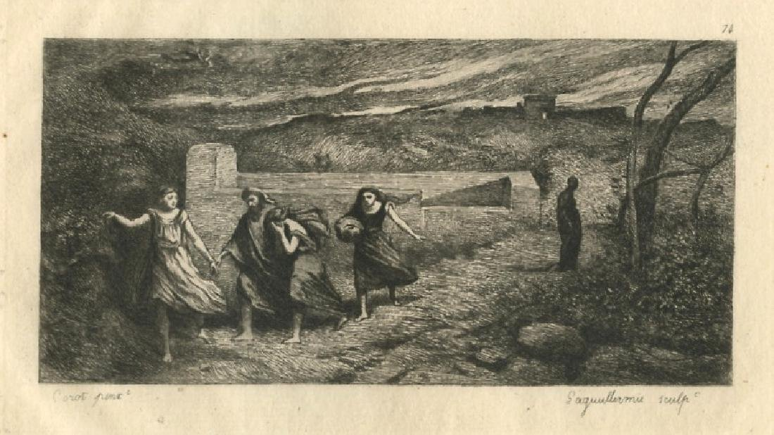 """Jean-Baptiste Corot etching """"The Burning of Sodom"""""""