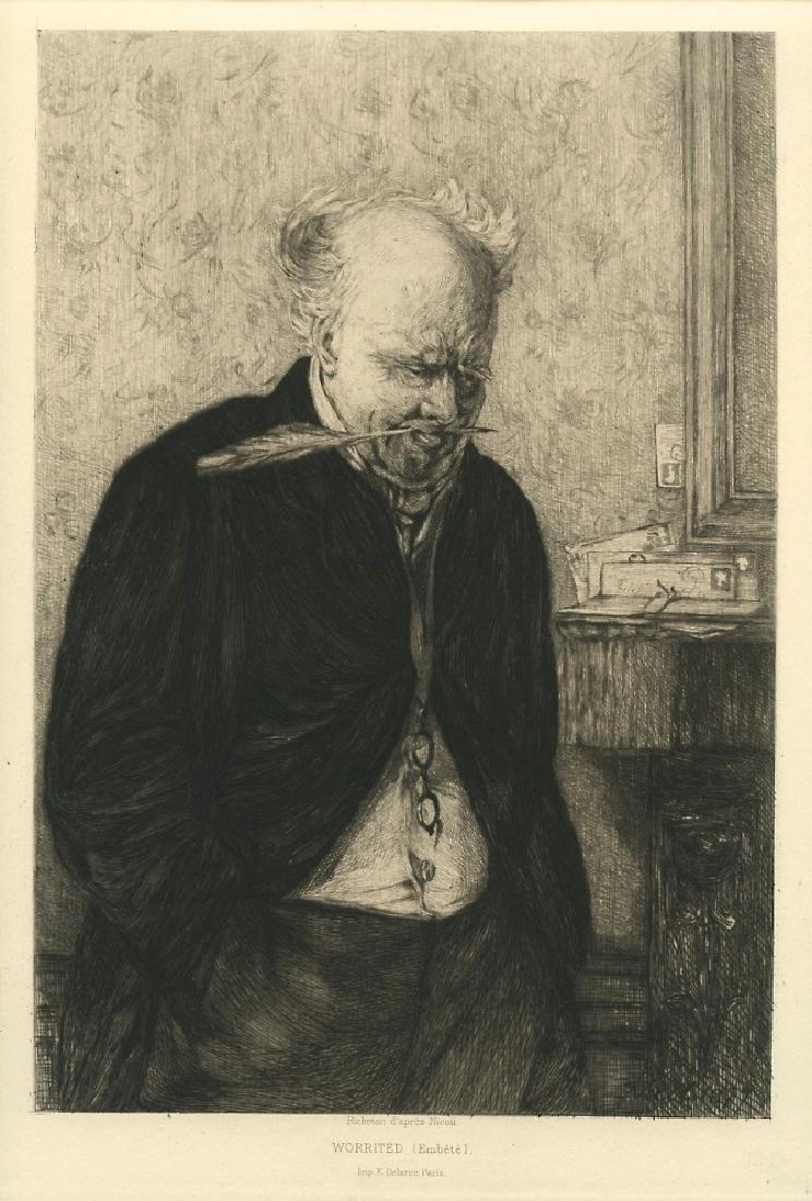 """Leon Richeton etching """"Worrited"""""""