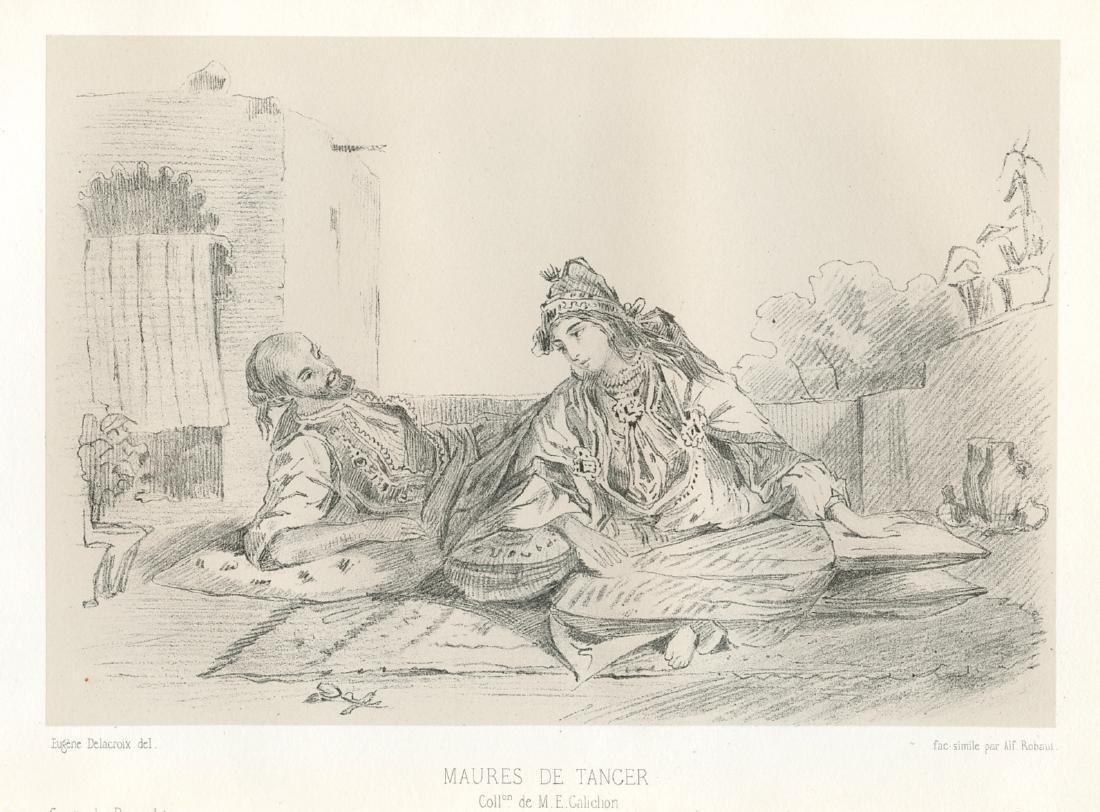 "Eugene Delacroix lithograph ""Maures de Tancer"""