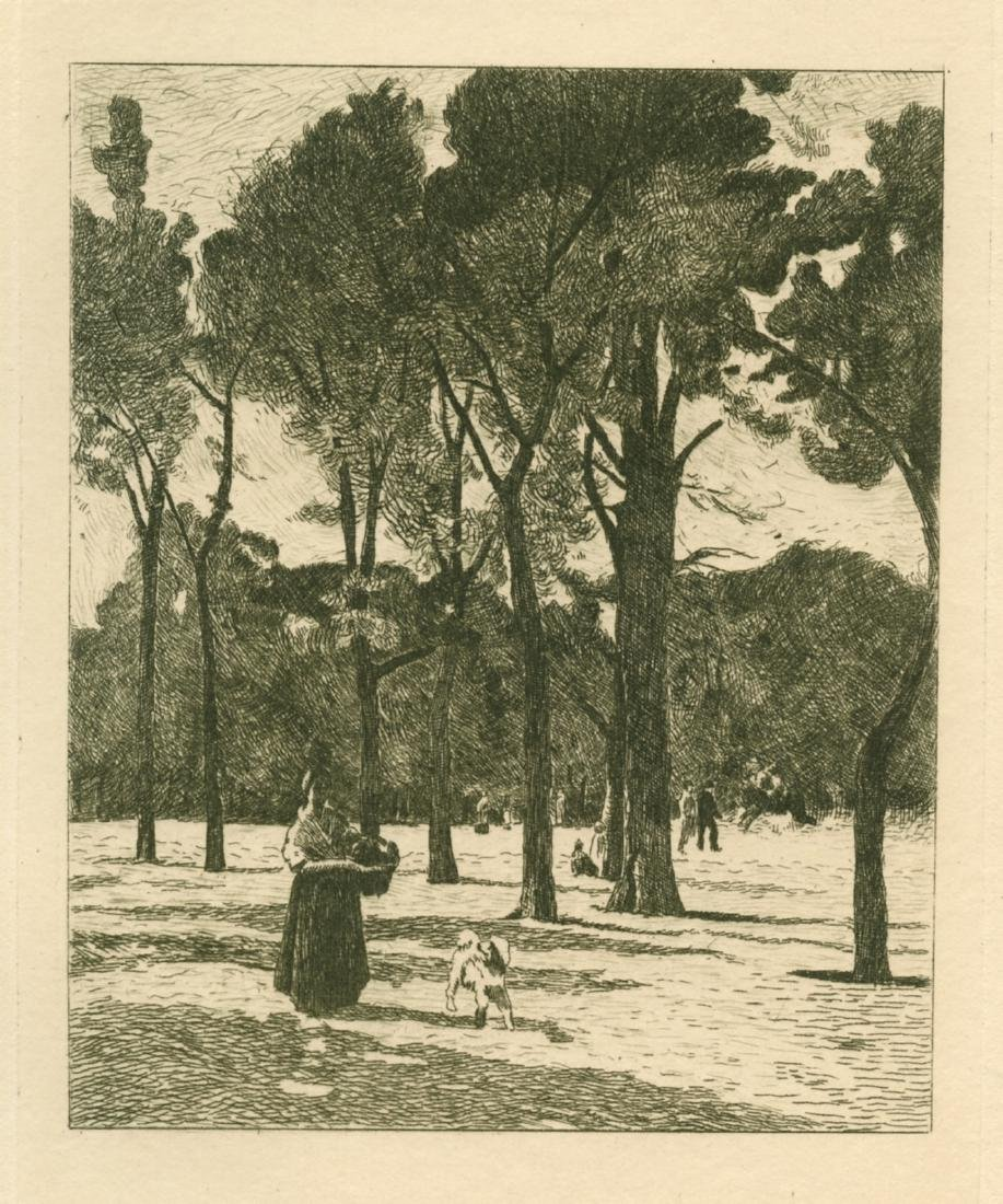 "Stanislas Lepine etching ""L'Esplanade des Invalides"""