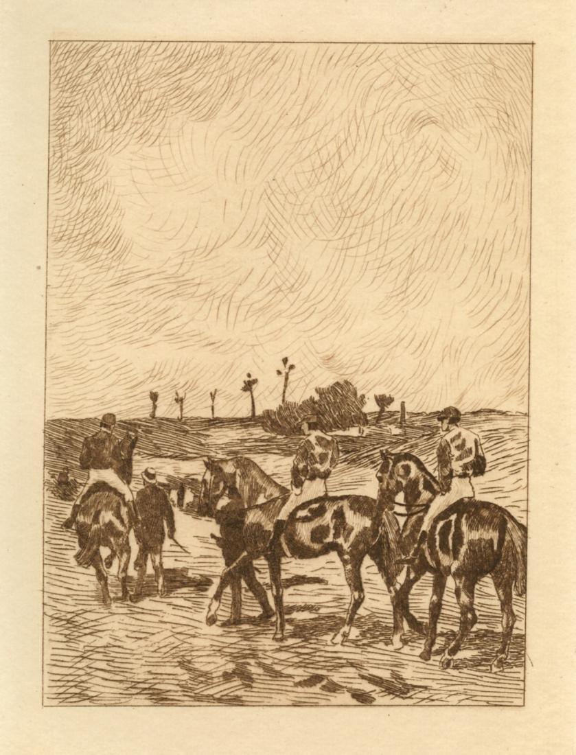 """John-Lewis Brown etching """"Chevaux de course"""""""