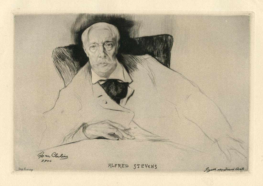 """Edgar Chahine """"Alfred Stevens"""" original etching and"""