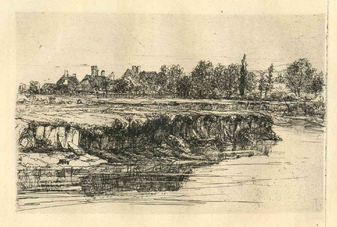 "Seymour Haden original etching ""Bit of a River Bank"""