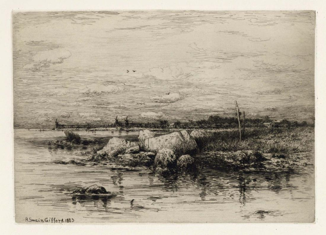 "Robert Swain Gifford original etching ""The Mouth of the"