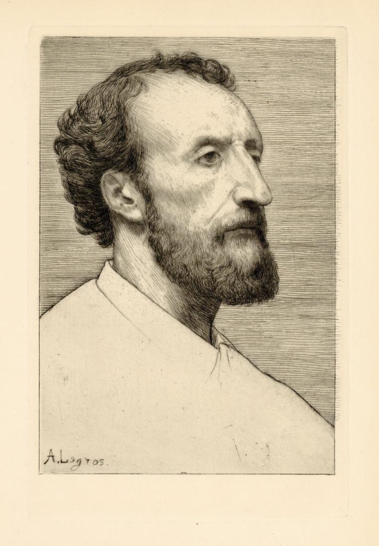 "Alphonse Legros original etching ""Jules Dalou"""