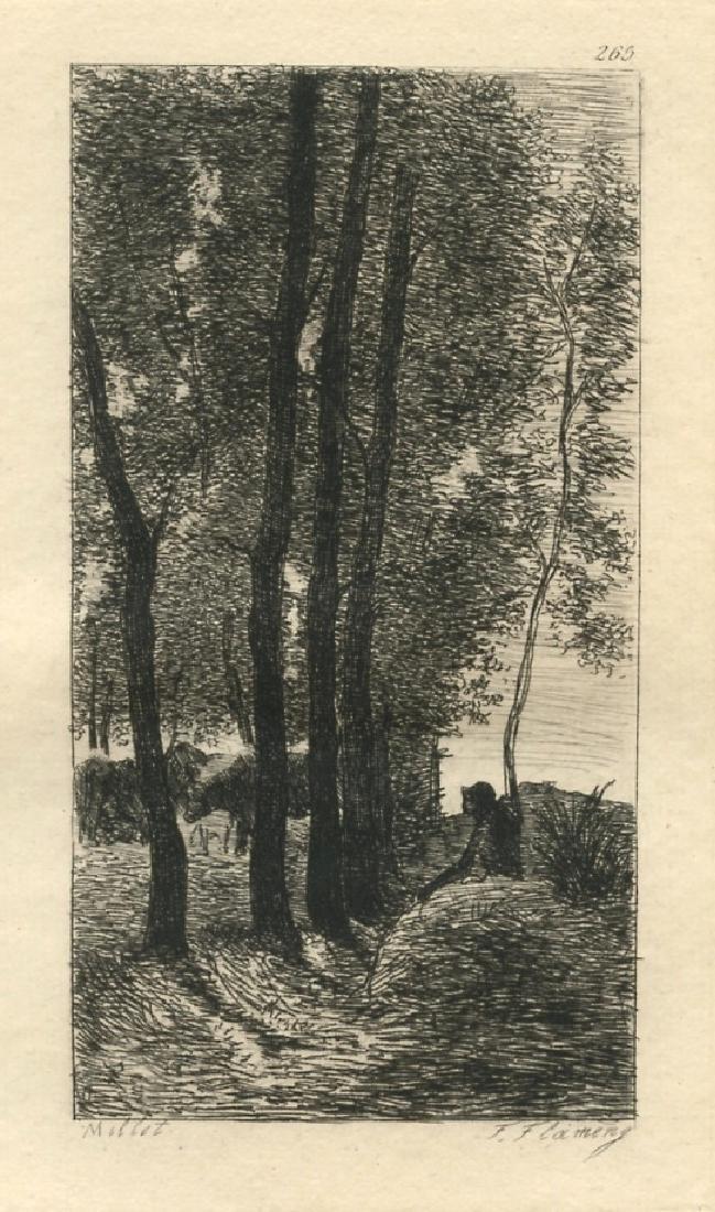 Jean-Francois Millet etching (Paysage)