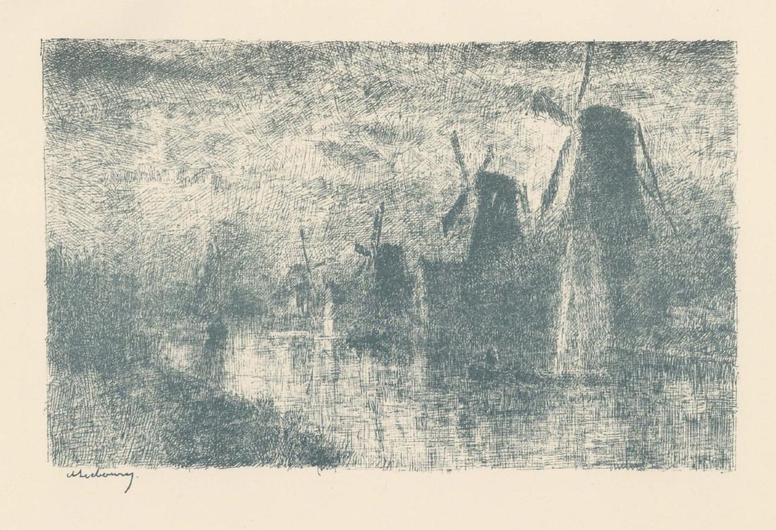 """Albert Lebourg original lithograph """"Moulins sur la"""