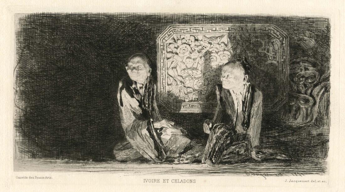 """Jules Jacquemart original etching """"Ivoire et Celadons"""""""