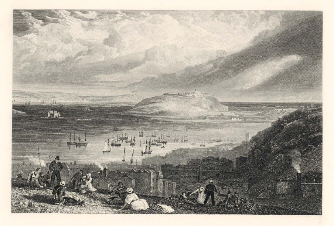 "J. M. W. Turner ""Falmouth Harbour"" engraving"