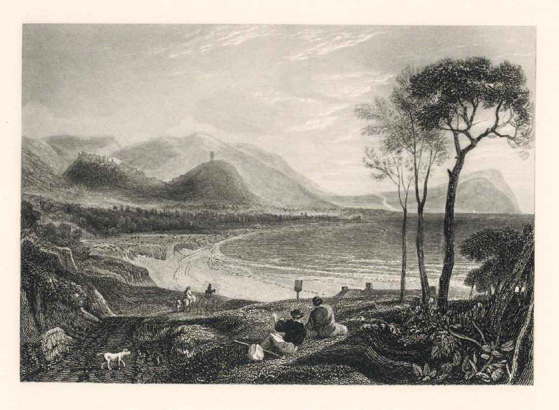 "J. M. W. Turner ""Dunster from Minehead"" engraving"