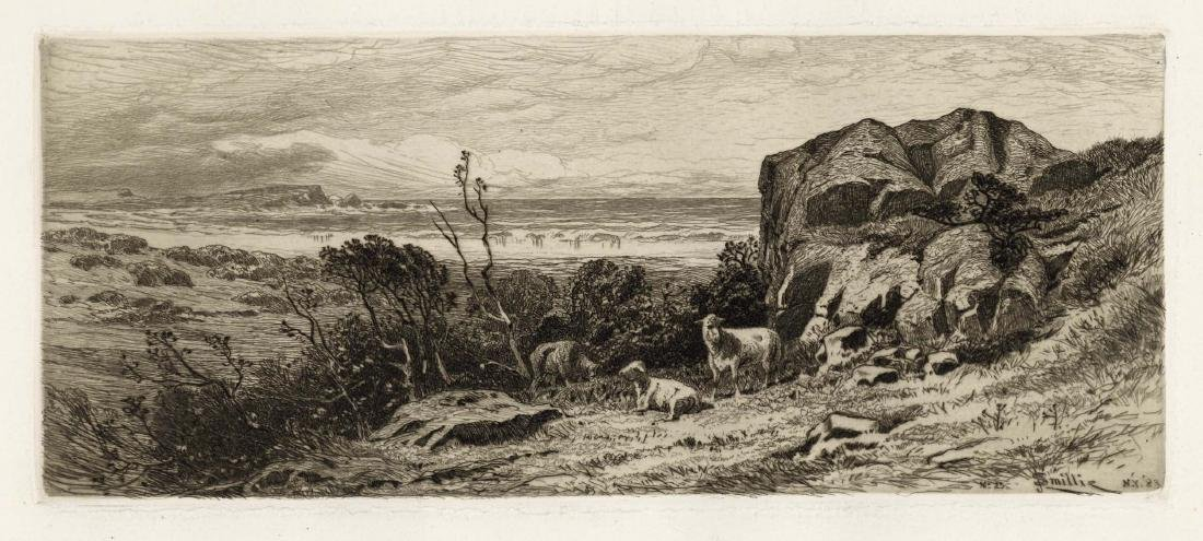 "James D. Smillie original etching ""At Marblehead Neck"""