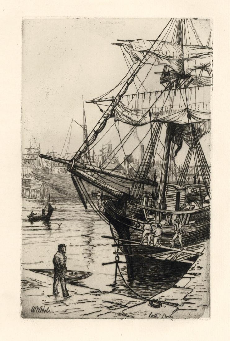 "William Hole ""Leith Docks"" original etching"