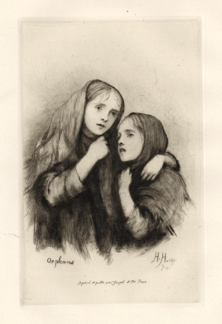 """Hubert von Herkomer """"Orphans"""" original etching"""