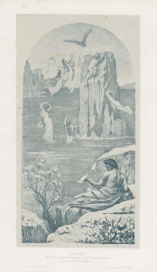 """Pierre Puvis de Chavannes lithograph """"Eschyle"""""""
