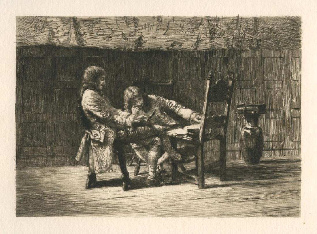 "Ignatz Marcel Gaugengigl original etching ""A Difficult"