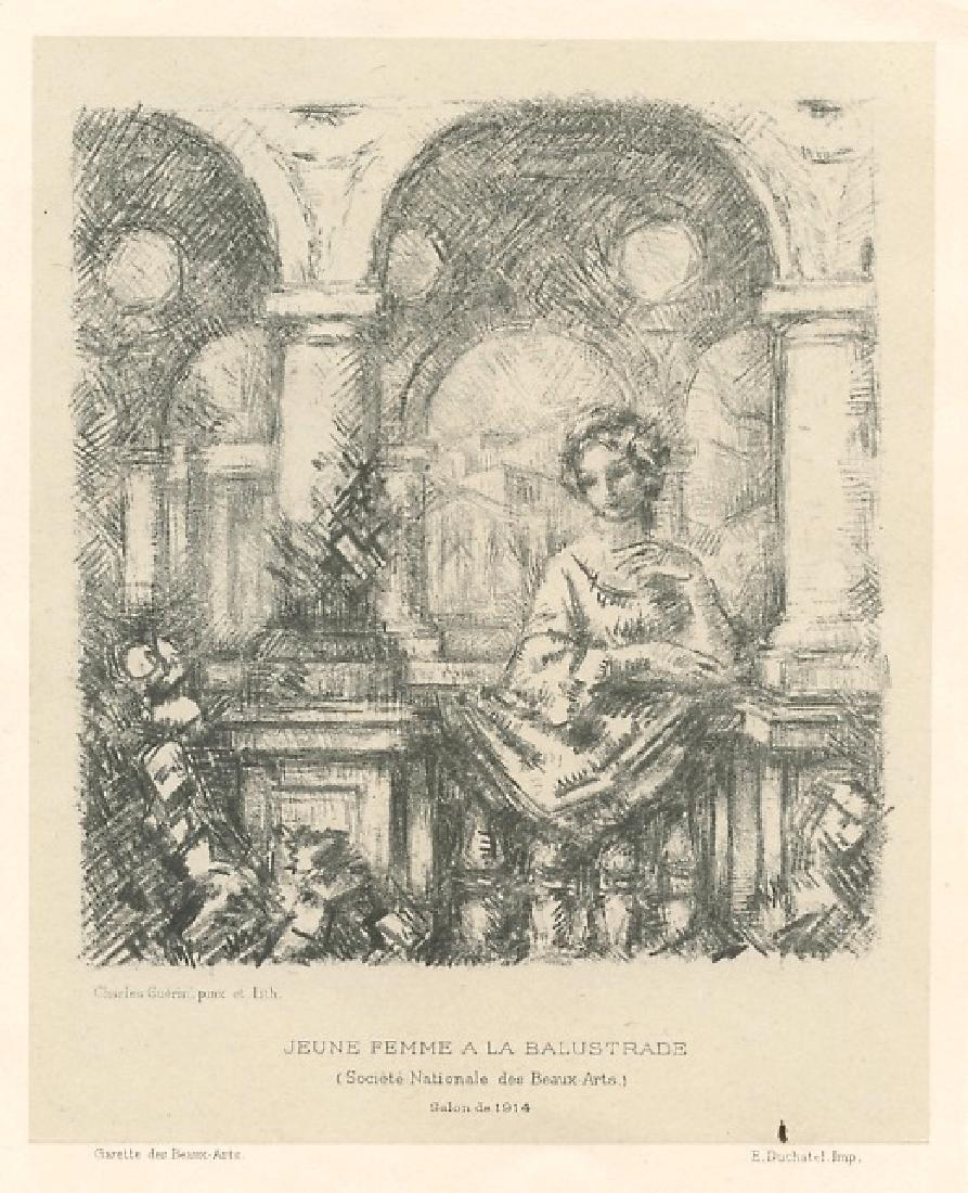 """Charles Guerin original lithograph """"Jeune femme a la"""
