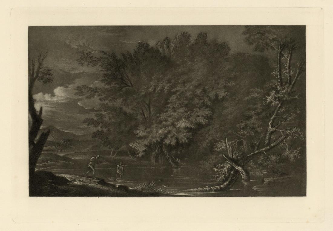"Salvator Rosa ""Mercury and the Woodman"" mezzotint"