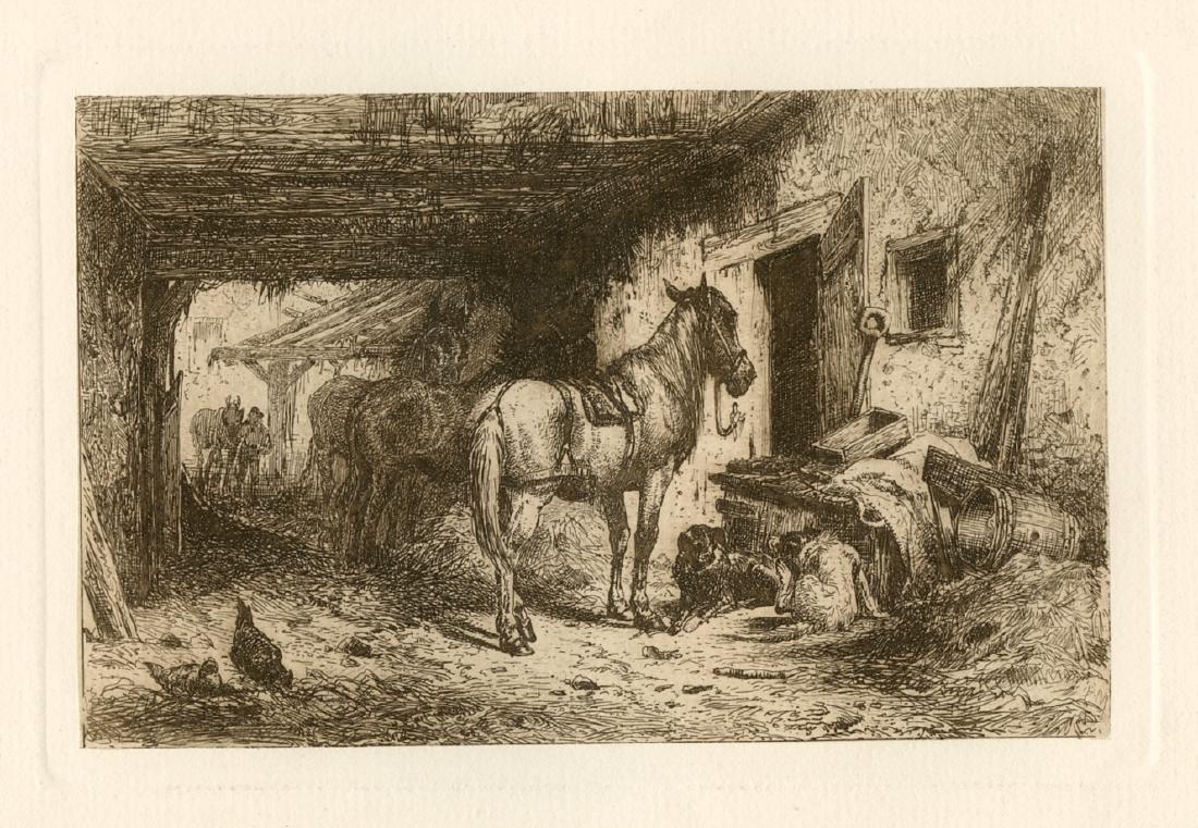 "Peter Moran original etching ""Noonday Rest"""