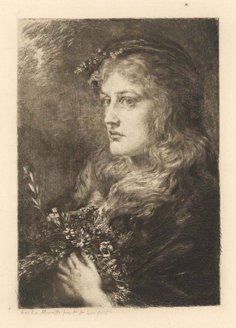 "Anna Lea Merritt original etching ""Ophelia"""