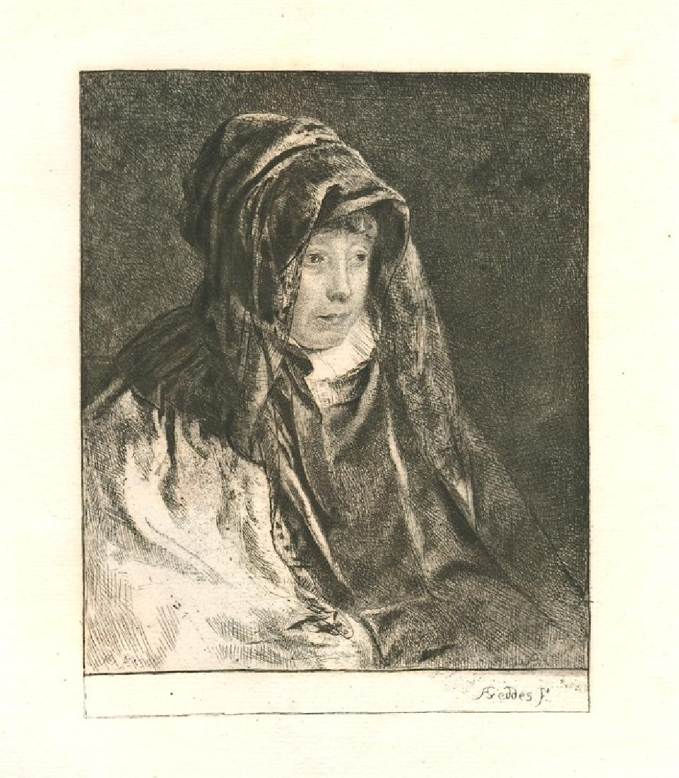 """Andrew Geddes original etching """"The Artist's Mother"""""""