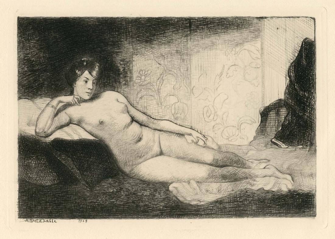 "Angele Delasalle ""Le Repos"" original etching"