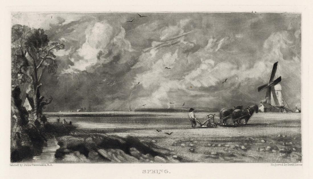 """Sir John Constable / David Lucas mezzotint """"Spring"""""""