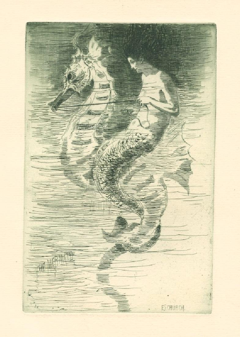"Frederick Stuart Church original etching ""The Mermaid"""