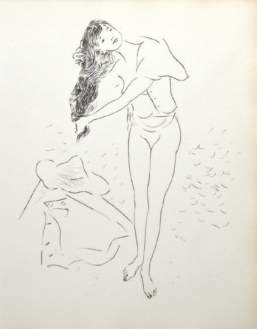 """Marcel Vertes original etching """"La toilette"""""""