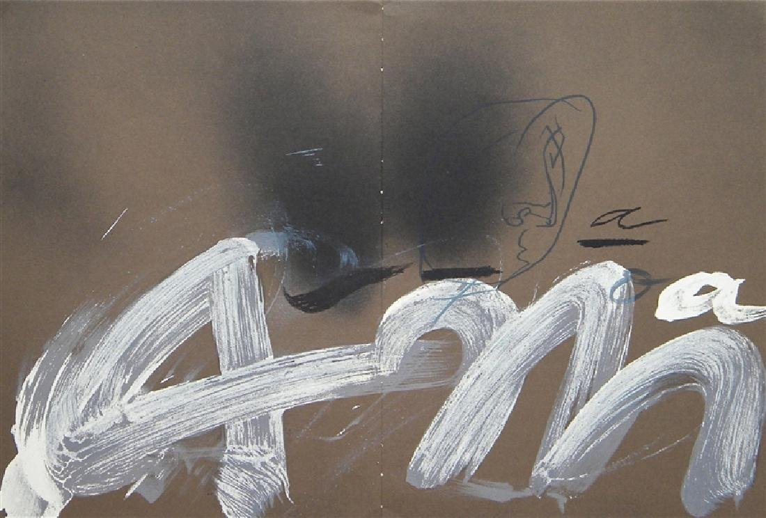 "Antoni Tapies original lithograph ""A.M."" 1982"