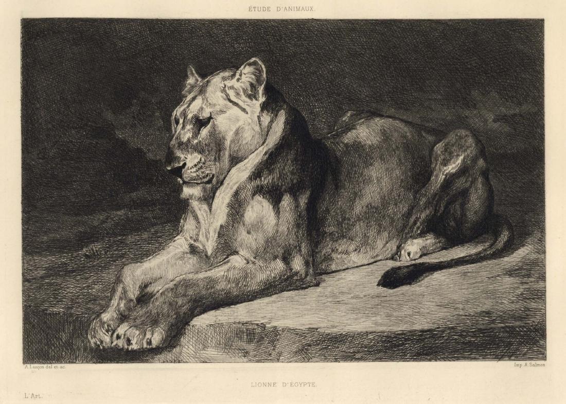"""Auguste Andre Lancon """"Lionne d'Egypte"""" original etching"""