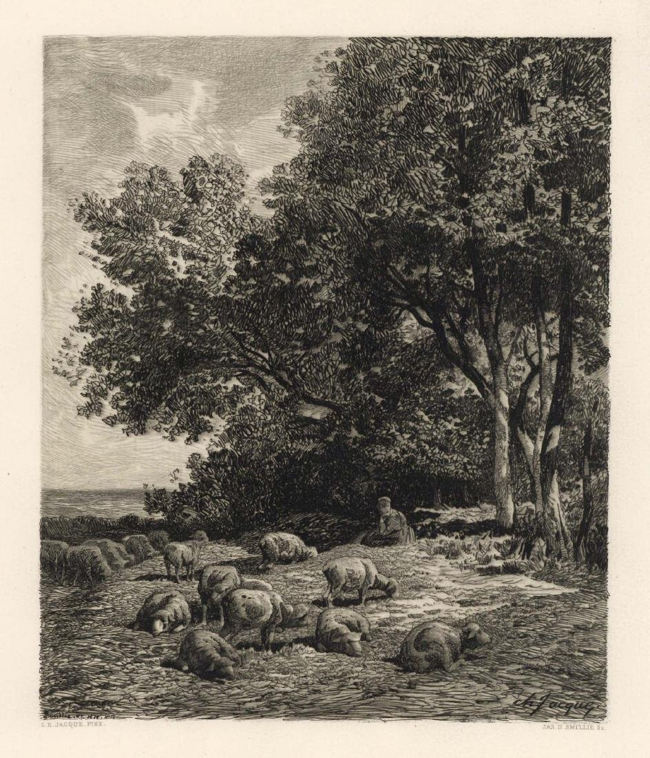"Charles Emile Jacque | James Smillie etching ""Landscape"
